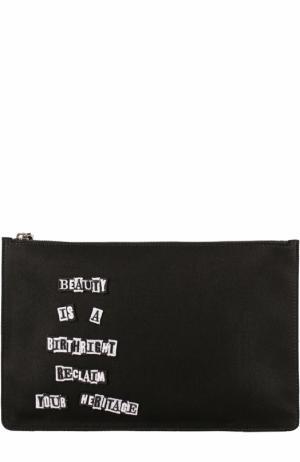 Текстильный несессер  Garavani на молнии с аппликацией Valentino. Цвет: черный