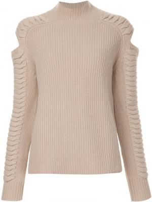 Cut-out detail ribbed jumper Zoe Jordan. Цвет: телесный
