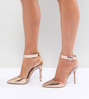 QUPID Туфли на каблуке с прозрачным ремешком. Цвет: золотой