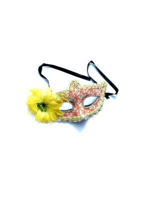 Карнавальная маска с цветком La Pastel. Цвет: желтый, оранжевый
