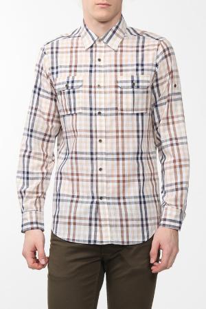 Рубашка Karflorens. Цвет: бежевый, коричневый, клетка