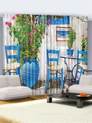 Фотошторы Тунисский колорит, 290*265 см Magic Lady. Цвет: белый, синий, зеленый, бежевый, розовый