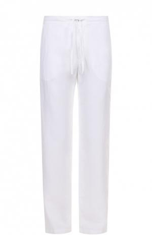 Льняные брюки свободного кроя 120% Lino. Цвет: белый