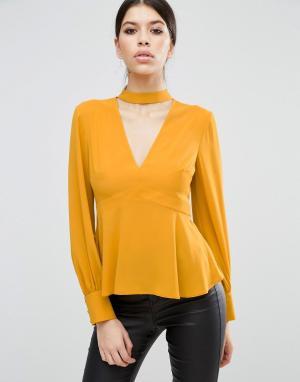 ASOS Блузка с V-образным вырезом и лентой вокруг шеи. Цвет: желтый