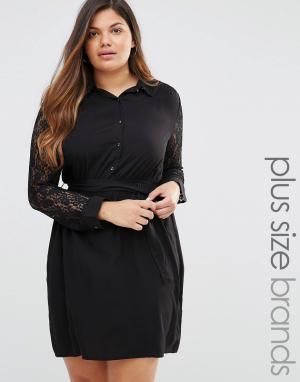 Club L Платье-рубашка с кружевными рукавами Plus. Цвет: черный