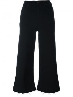 Укороченные широкие джинсы 7 For All Mankind. Цвет: чёрный