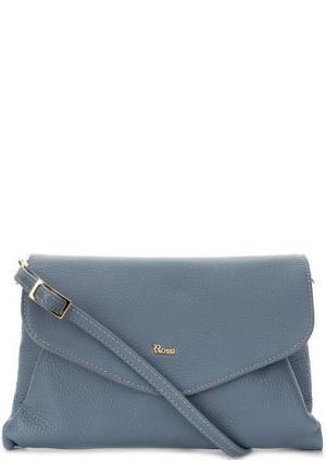 Кожаная сумка через плечо с откидным клапаном Bruno Rossi. Цвет: синий