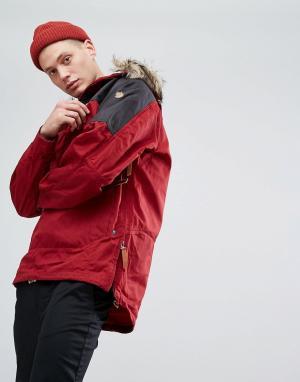 Fjallraven Красная куртка с искусственным мехом на капюшоне Singi. Цвет: красный