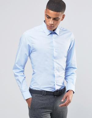 Number Eight Savile Row Зауженная рубашка в строгом стиле. Цвет: синий