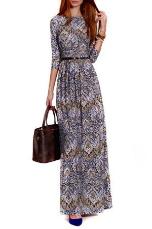 Платье FRANCESCA LUCINI. Цвет: бежевый, синий