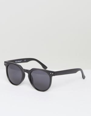 AJ Morgan Черные матовые солнцезащитные очки в круглой оправе Actualiz. Цвет: черный