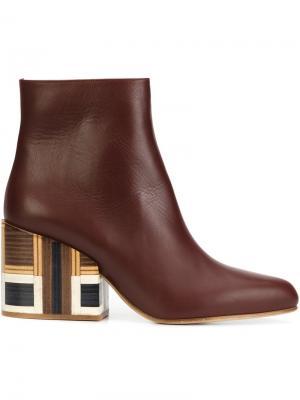 Ботинки на контрастном каблуке Gabriela Hearst. Цвет: красный