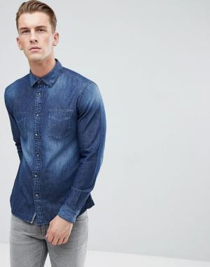 Esprit Выбеленная джинсовая рубашка. Цвет: синий