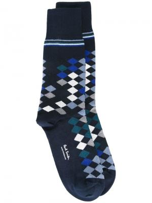 Носки с геометрическим узором Paul Smith. Цвет: синий