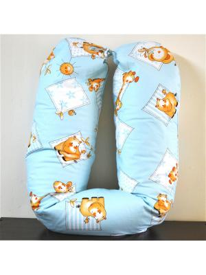 Подушка для беременных и кормящих мам с ЭКО гранулами Традиция. Цвет: голубой, белый