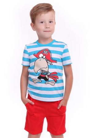 Костюм: футболка, шорты СВIТАНАК. Цвет: голубой, красный