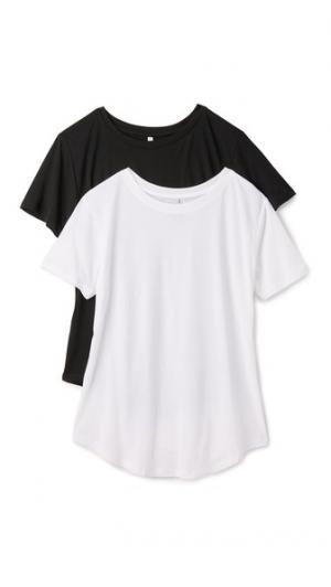 Набор из двух свободных футболок с округлым вырезом Z Supply. Цвет: черный/белый