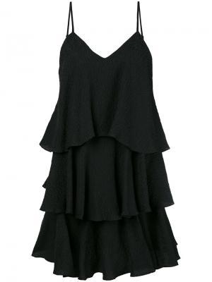 Многоярусное платье с оборками Paul & Joe. Цвет: чёрный