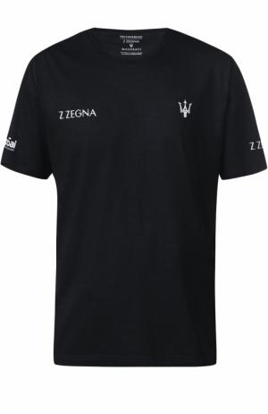Джемпер с короткими рукавами из шерсти тонкой вязки Z Zegna. Цвет: темно-синий