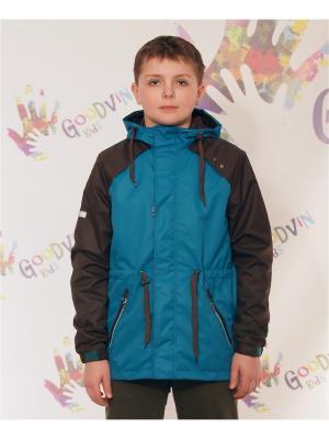 Ветровка для мальчика Лука GooDvinKids. Цвет: морская волна, темно-коричневый