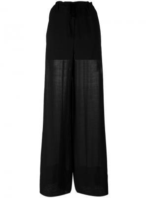 Широкие брюки с присборенным поясом Ann Demeulemeester. Цвет: чёрный