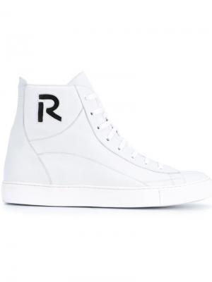 Хайтопы с вырезным элементом логотипа Raf Simons. Цвет: белый