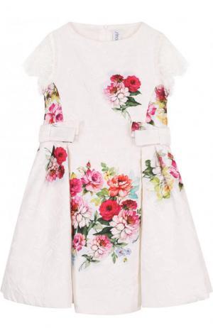 Жаккардовое платье с кружевной отделкой и бантами Simonetta. Цвет: белый
