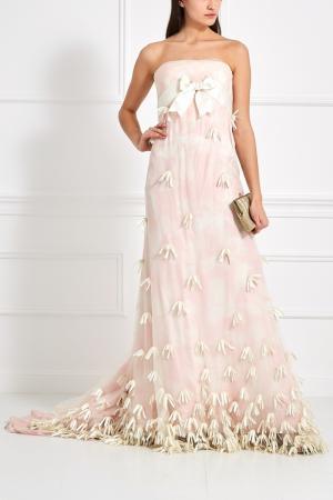 Шелковое платье Bill Blass. Цвет: розовый, белый