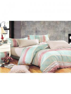 Комплект постельного белья ROMEO AND JULIET. Цвет: морская волна, бежевый, темно-фиолетовый