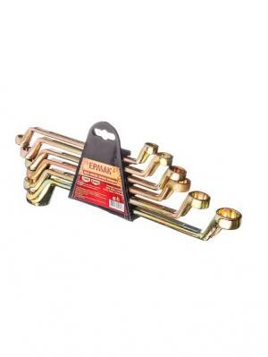 Набор ключей накидных, 6 предм., 8x10 - 17x19мм, желтый цинк, пластик холдер Ермак. Цвет: золотистый, черный