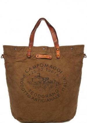 Вместительная текстильная сумка Campomaggi. Цвет: хаки
