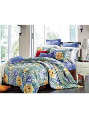 Комплект постельного белья ЕВРО сатин, рисунок 618 LA NOCHE DEL AMOR. Цвет: зеленый