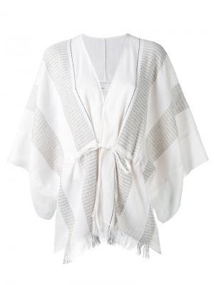 Жакет-кимоно с бахромой Gentry Portofino. Цвет: телесный