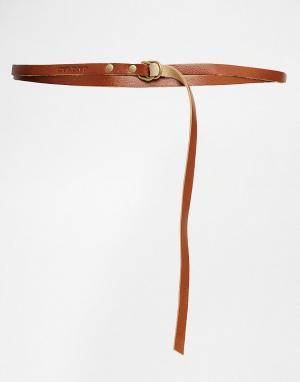 JAKIMAC Светло-коричневый кожаный ремень. Цвет: рыжий