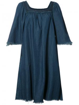Расклешенное джинсовое платье NSF. Цвет: синий