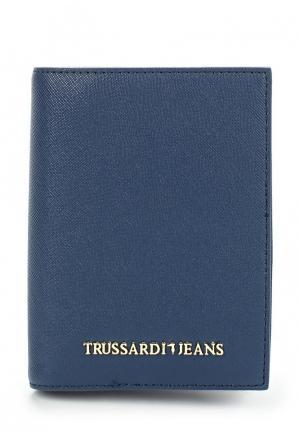 Обложка для документов Trussardi Jeans. Цвет: синий