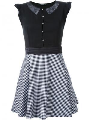 Платье комбинированного кроя в клетку гингем Loveless. Цвет: чёрный