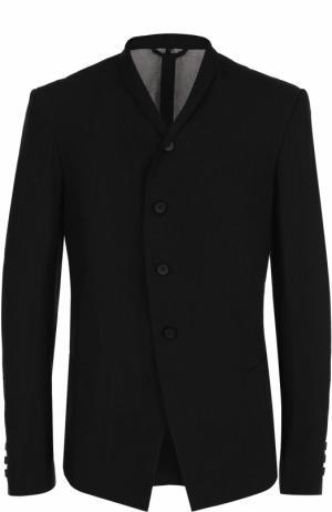 Льняной однобортный пиджак с шалевыми лацканами Masnada. Цвет: черный