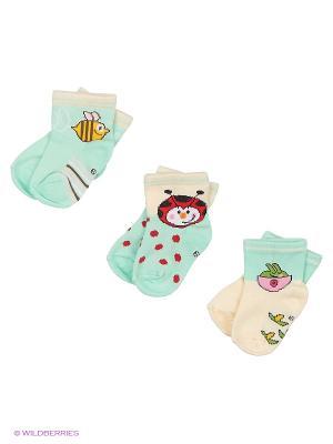 Носки для новорожденных PERA MAYA. Цвет: бирюзовый, кремовый