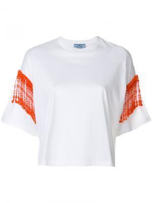 Укороченная футболка с бахромой из бусин Prada. Цвет: белый