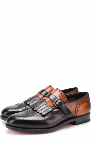 Кожаные монки с брогированием и бахромой Santoni. Цвет: коричневый