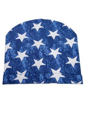 Шапка Звезды джинс Bloomy. Цвет: темно-синий, белый