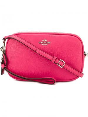 Сумка через плечо  с застежкой-молнией Coach. Цвет: розовый и фиолетовый