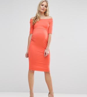 ASOS Maternity Платье с открытыми плечами для беременных. Цвет: оранжевый