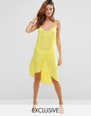 Akasa Пляжное платье с лямками сзади. Цвет: желтый