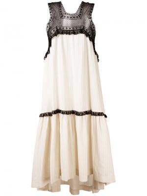 Свободное платье с кружевной вставкой Veronique Branquinho. Цвет: телесный