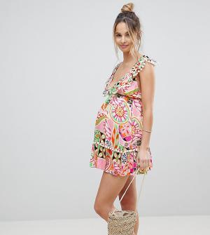 ASOS Maternity Пляжное платье с принтом в стиле ретро и помпонами. Цвет: мульти