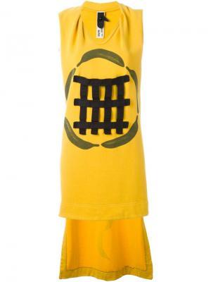 Платье Bananas с удлиненной панелью сзади Bernhard Willhelm. Цвет: жёлтый и оранжевый
