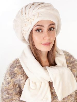 Берет, с шарфом LORICCI. Цвет: молочный