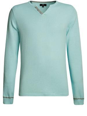 Пуловер Oodji. Цвет: бирюзовый, серый